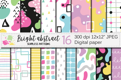 Bright abstract digital paper / Seamless modern patterns