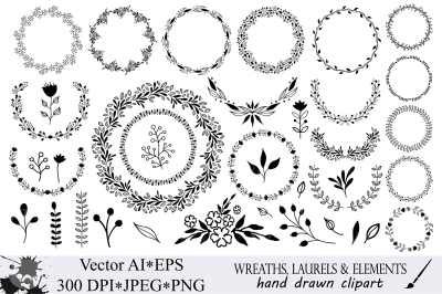 Hand drawn wreaths, laurels and design elements vector clipart