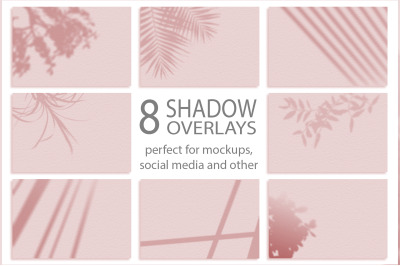 Set of 8 Shadows mockup. Summer background of shadows branch leaves.