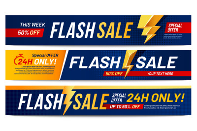 Flash sale banners. Lightning offer sales, only now deals and discount