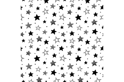 Doodle stars pattern. Seamless star ornaments, night sky and starry or