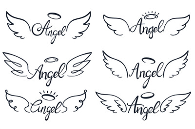 Angel wings lettering. Heaven wing, heavenly winged angels and holy wi