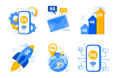 Network 5g. Fifth generation telecommunications, fast internet connect