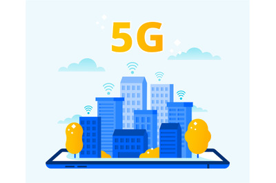 Network 5G coverage. City wireless internet, fifth generation networks