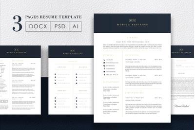 3 Page Elegant Dark Blue Resume Template / CV Template / FREE Coverlet