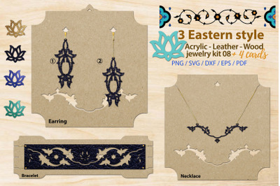 Eastern style acrylic leather wood jewelry kit 08