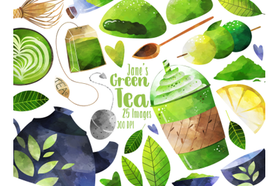 Watercolor Green Tea Clipart