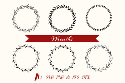 Decorative Wreaths. Floral frames vector elements.