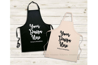 Black Apron Mockup, Natural Beige Apron Template Mock Up