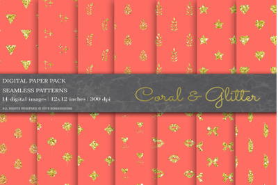 Coral Glitter Digital Papers