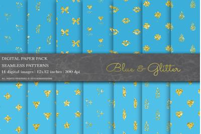 Blue Glitter Geometric Patterns