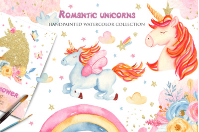 Romantic unicorns. Watercolor collection.