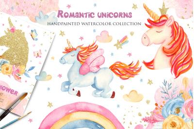 Watercolor pink, blue, golden unicorns clipart