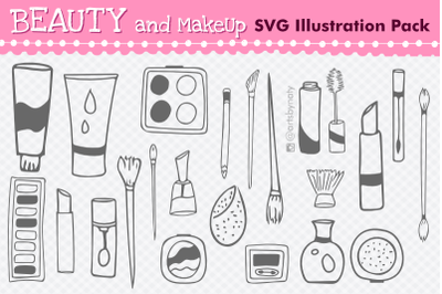 Beauty and MakeUp SVG Illustration Pack with 22 Elements.