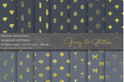 Grey & Glitter Digital Papers