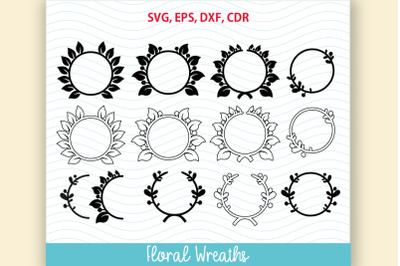 12 flower frame SVG Floral Wreath Set