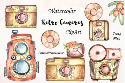 Watercolor Retro Camera Clipart