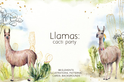 Llamas: cacti party. Watercolor