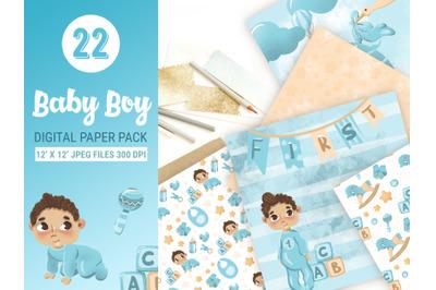 Baby boy digital paper pack for scrapbooking