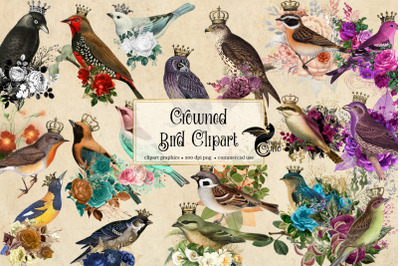 Crowned Birds Clipart