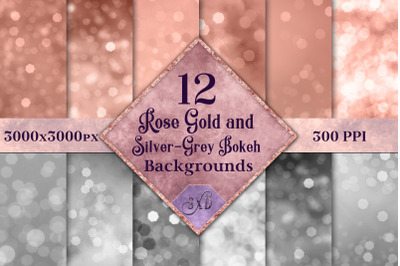 Rose Gold and Silver-Grey Bokeh Backgrounds