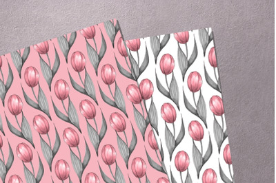 Tulips. Watercolor patterns