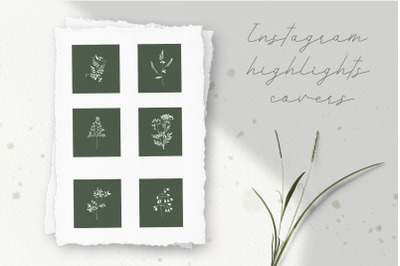 Instagram Highlights Covers. Set of 6 covers with wild herbs