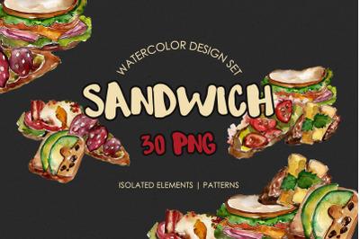 Sandwich Croc-Monsieur Watercolor png