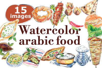 Watercolor arabic and turkish food