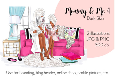 Watercolor FashionIllustration - Mommy & Me 4 - Dark Skin