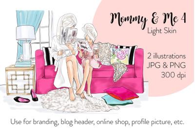 Watercolor FashionIllustration -Mommy & Me 4 - Light Skin