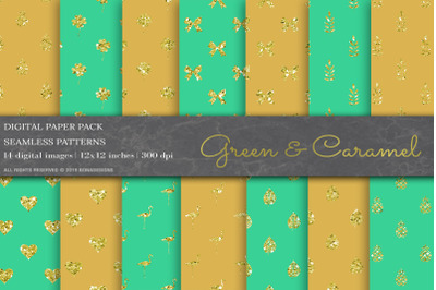Green & Caramel geometric Digital Paper