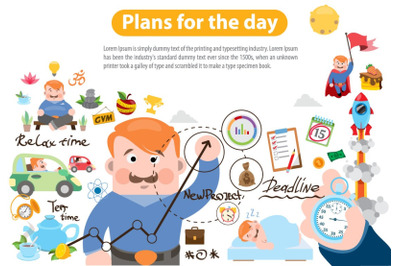 Plans for the day - vector clipart