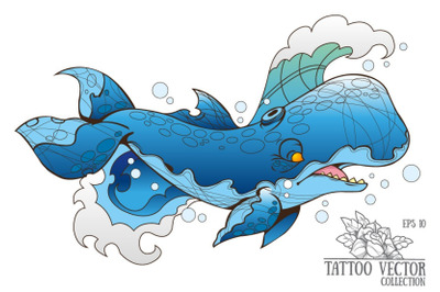 Sketch tattoo whale - vector