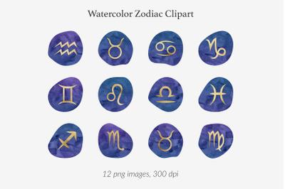 Watercolor & Gold Zodiac Signs