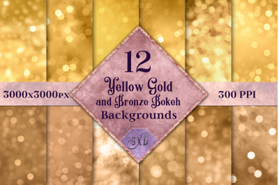 Yellow Gold and Bronze Bokeh Backgrounds - 12 Image Textures Set