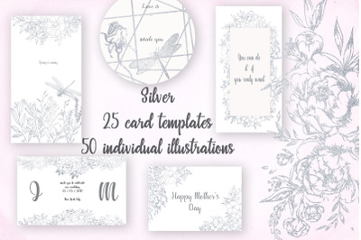 Card templates and floral illustrations in silver