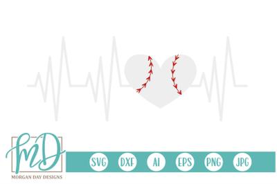 Baseball Heartbeat SVG