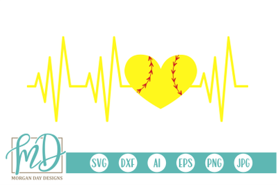 Softball Heartbeat SVG