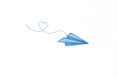Paper Airplane with Heart Trail | Applique Embroidery