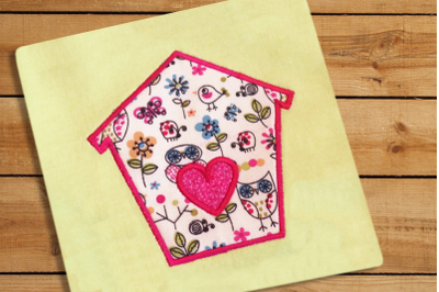 Bird House with Heart | Applique Embroidery
