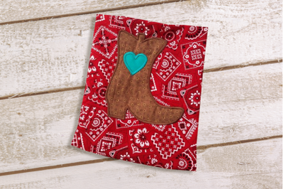 Western Boot with Heart | Applique Embroidery