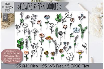 125 Flowers and Ferns Doodles Hand Drawn Illustrations Bundle