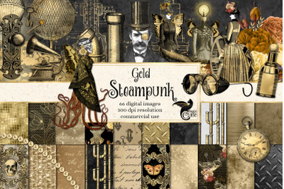 Gold Steampunk Digital Scrapbook Kit