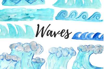 Watercolor Summer Waves Clipart