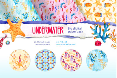 Watercolor marine life patterns