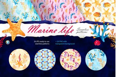 Watercolor marine life patterns