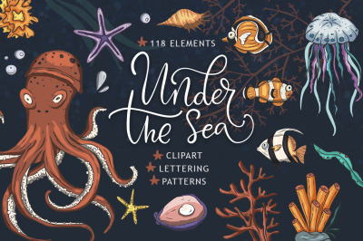 Under the sea. Big graphic set.
