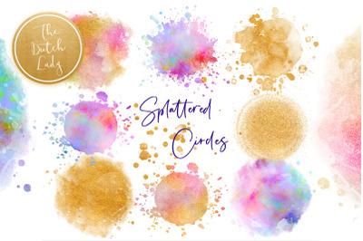 Splattered Circle Clipart Set