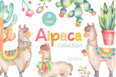 Alpaca Collection, Llama Cactus, watercolor clip art, illustration